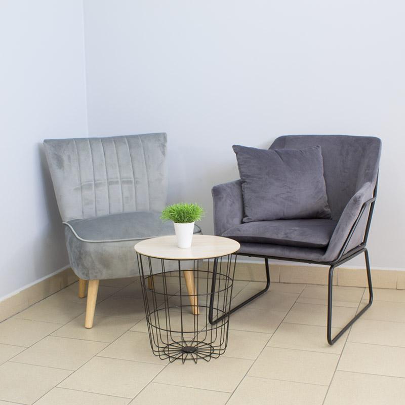 Fotel wypoczynkowy z metalowym szkieletem 507 Szary HILE