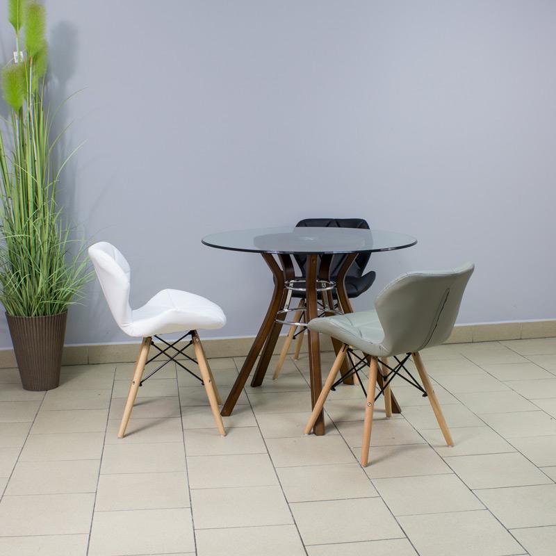 krzesło ekoskóra na bukowych drewnianych nogach