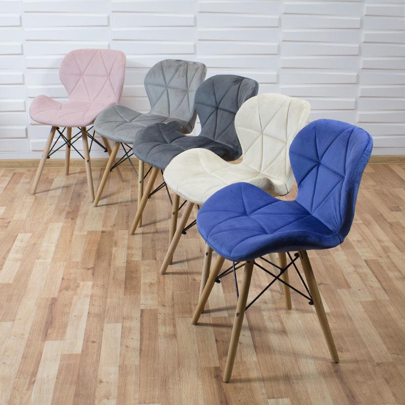 krzesło welurowe skandynawskie na bukowych nogach