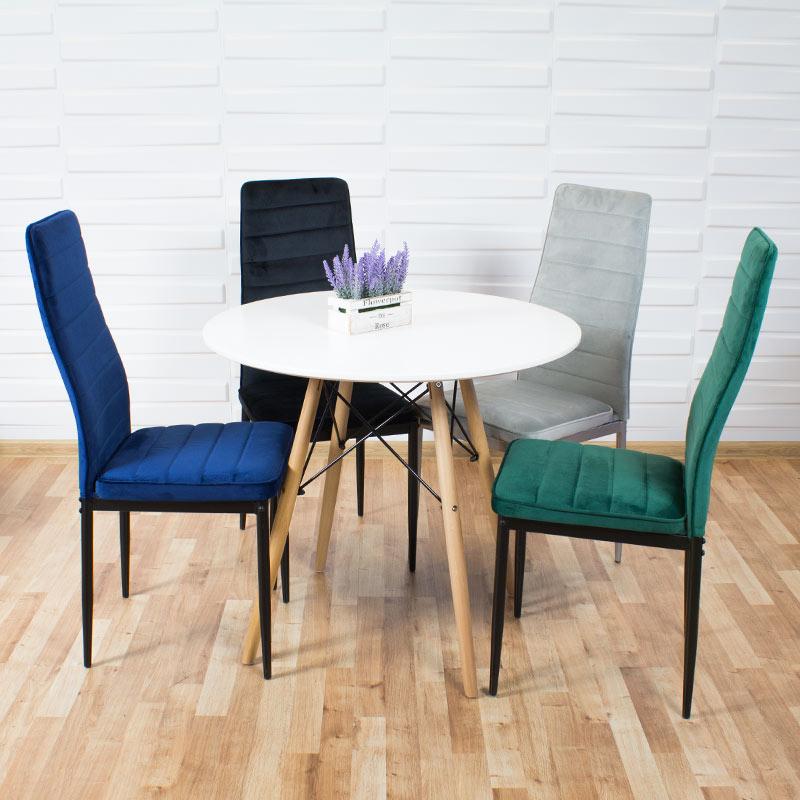 krzesło welurowe na metalowych nogach
