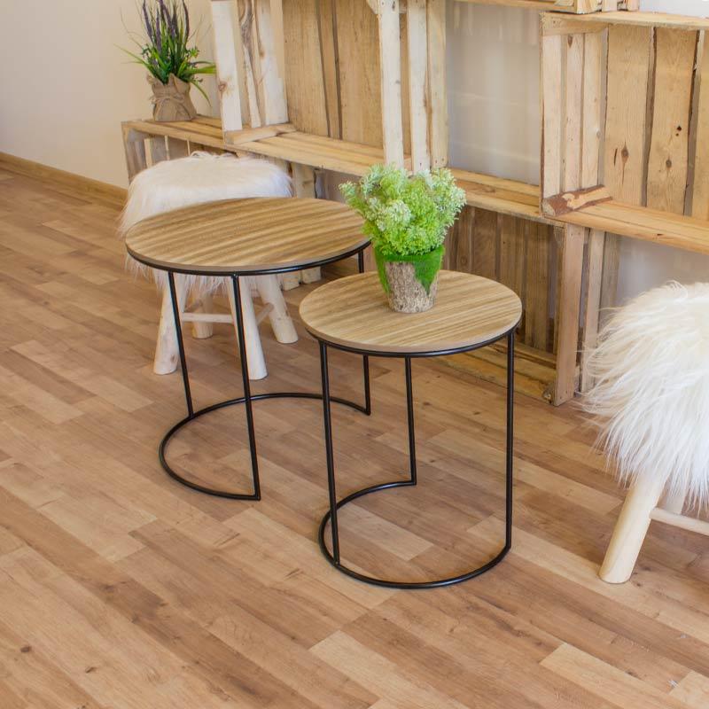 stolik kawowy zestaw stolikó w z drewnianym blatem