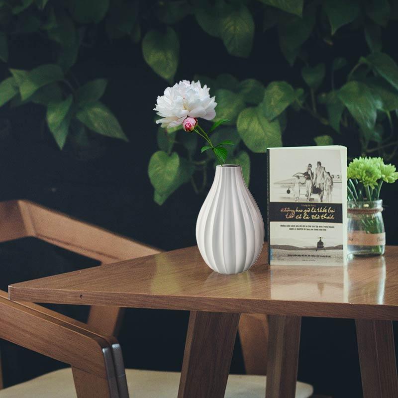 Wazon Ceramiczny Na Kwiaty M 49 Biały Hile