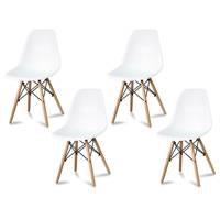 e67a614ab56363 Komplet krzeseł nowoczesnych na drewnianych bukowych nogach stylowe do  salonu białe 4 szt. 212 AB