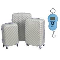 12c8908a95292 Komplet walizek podróżnych ABS komplet srebrne 20/24/28 UC03003-02 + waga