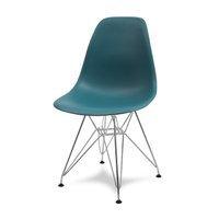 aece6a075d64be Krzesło nowoczesne na metalowych chromowanych nogach stylowe do kuchni  turkusowe 212 AB/BB