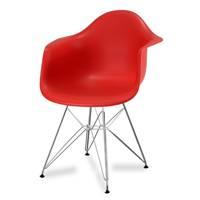 467a90eaf48016 Krzesło nowoczesne stylowe na metalowych chromowanych nogach do salonu  restauracji czerwone 211 AB