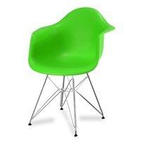 a931b1ecfa0a99 Krzesło nowoczesne stylowe na metalowych chromowanych nogach do salonu  restauracji zielone 211 AB