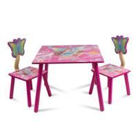 e2de5cceddb626 Zestaw dziecięcy stół + krzesła z drewna meble dziecięce wróżki różowy  UC121420