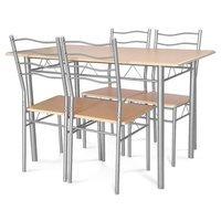 Zestaw Stół Krzesła X001b Jasny Brąz Hile