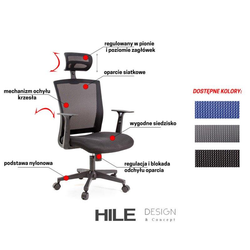 Krzesło biurowe obrotowe L207 22 Szary HILE