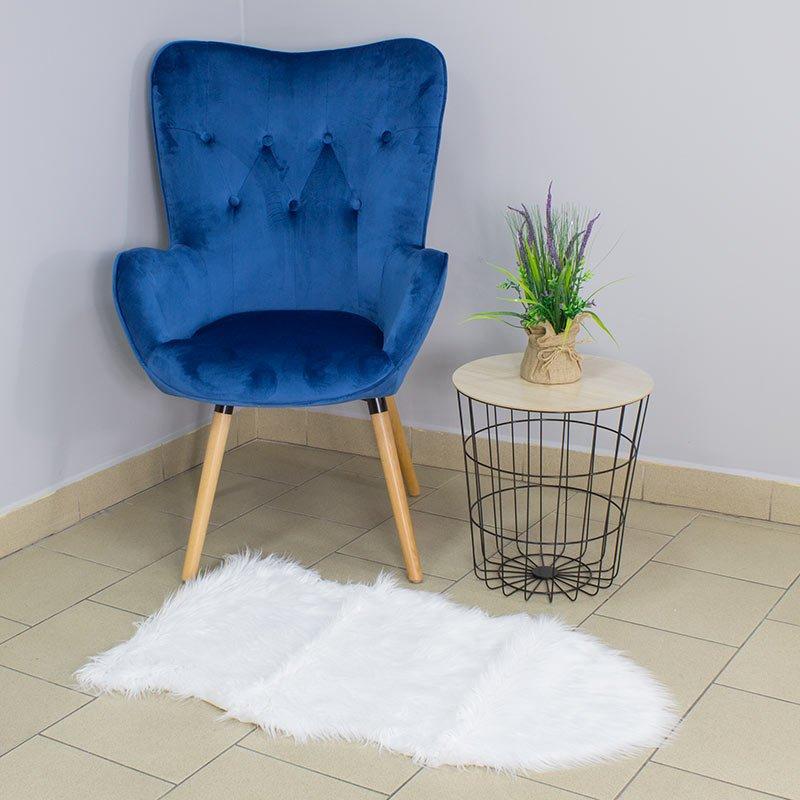 Fotel Uszak Na Drewnianych Nogach F100 Niebieski Hile