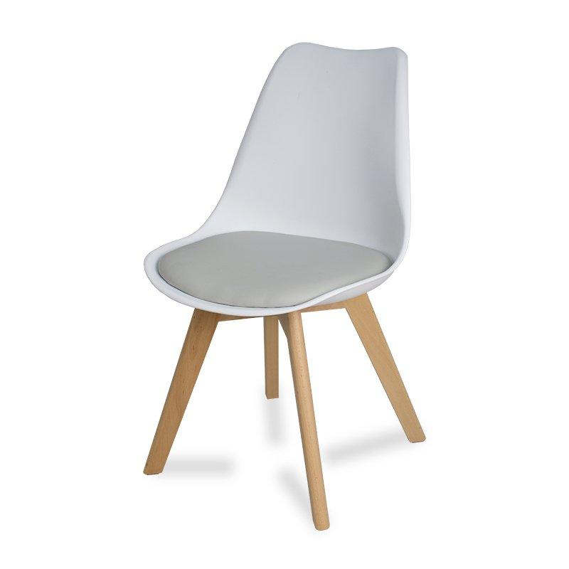 Wybitny Krzesło z poduszką na drewnianych nogach 007TS Biały - HILE ID11