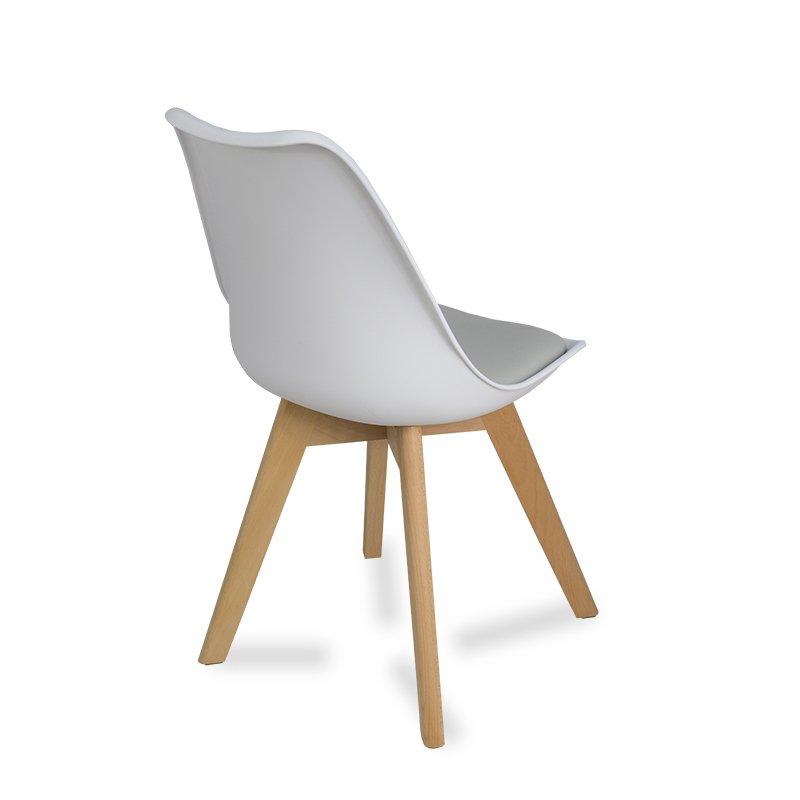 Krzesło z poduszką na drewnianych nogach 007TS Biały HILE