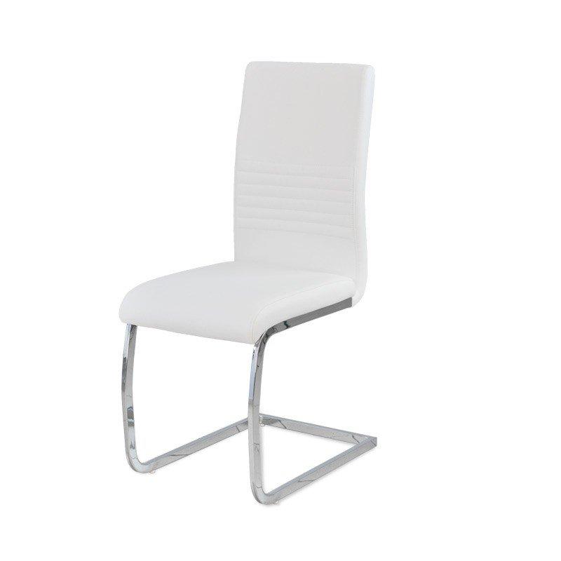 Krzesło Skórzane Chromowane 706w Biały Hile