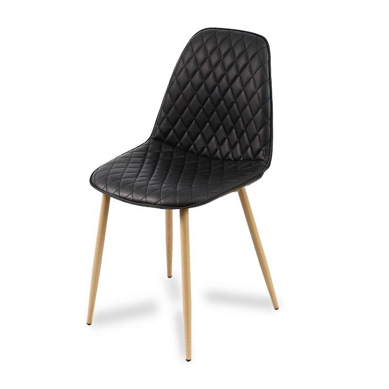Krzesło Tapicerowane Ekoskórą 015 Czarny Hile