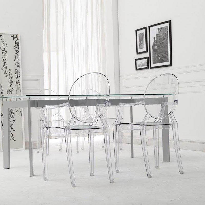Nowoczesne stabilne krzesło 209 Luis Transparentny HILE