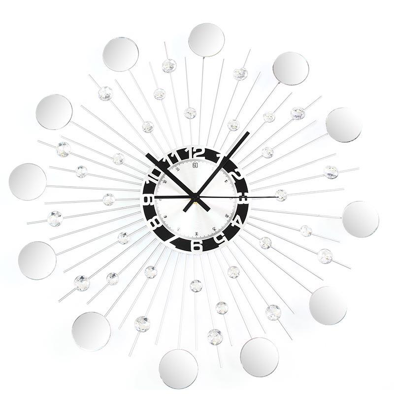 Nowoczesny Zegar ścienny Z Lusterkiem M09 Srebrny Hile