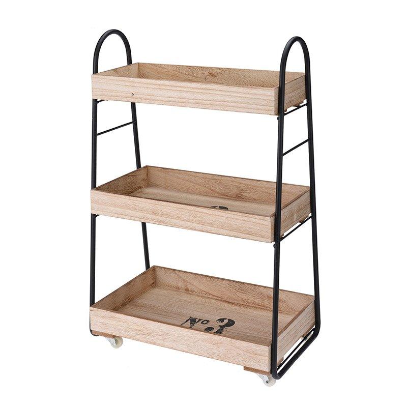 Regał Drewniany Na Kółkach Barek 3 Półki Nb0290 Hile