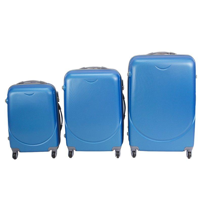 70e0e062adced ... Walizki kabinowe ABS z rączką komplet niebieskie 20/24/28 UC03001-04 ...
