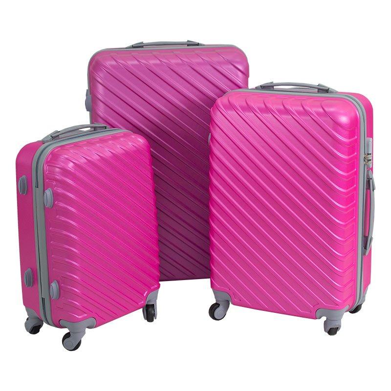 e2c4ded3a6b14 ... Walizki podróżne ABS komplet na kółkach różowe 3 szt. 20/24/28 UC03003  ...