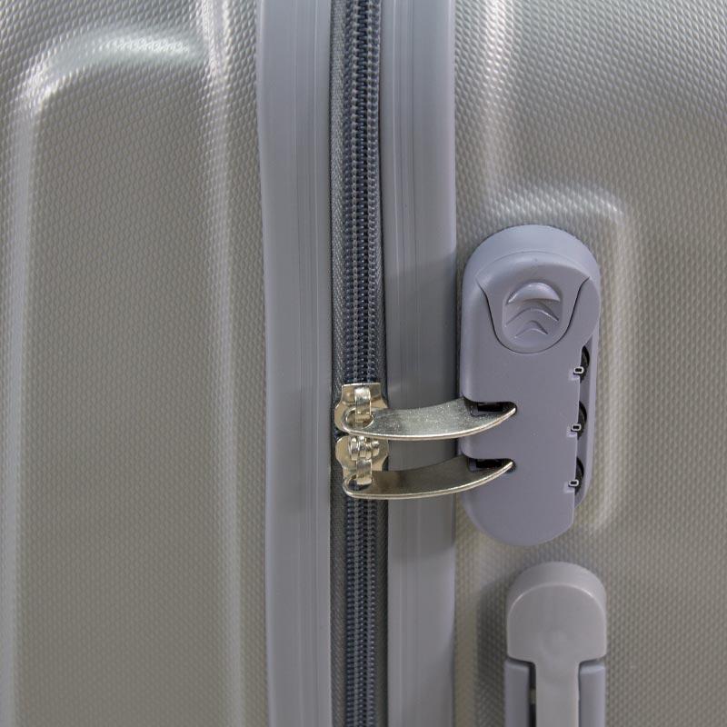 c900ce5def445 ... Walizki kabinowe ABS z rączką komplet srebrne 20/24/28 UC03001-06 ...