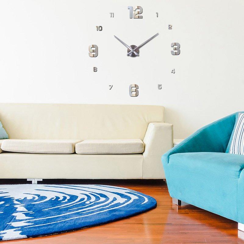 Zegar Do Naklejenia Na ścianę 3d Z3d 005ds Srebrny Hile
