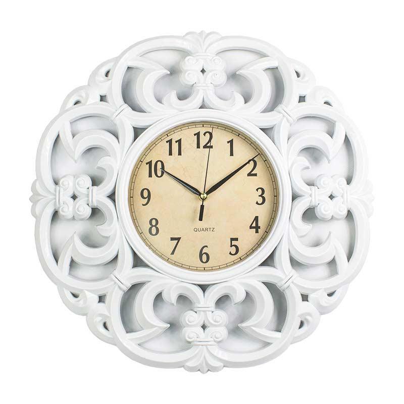 Zegar ścienny Na ścianę Zdobiony M17 3 Biały Hile